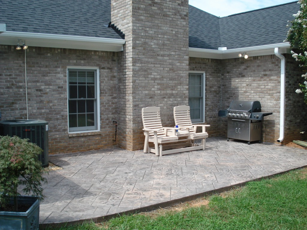 Stamp patio with chimney