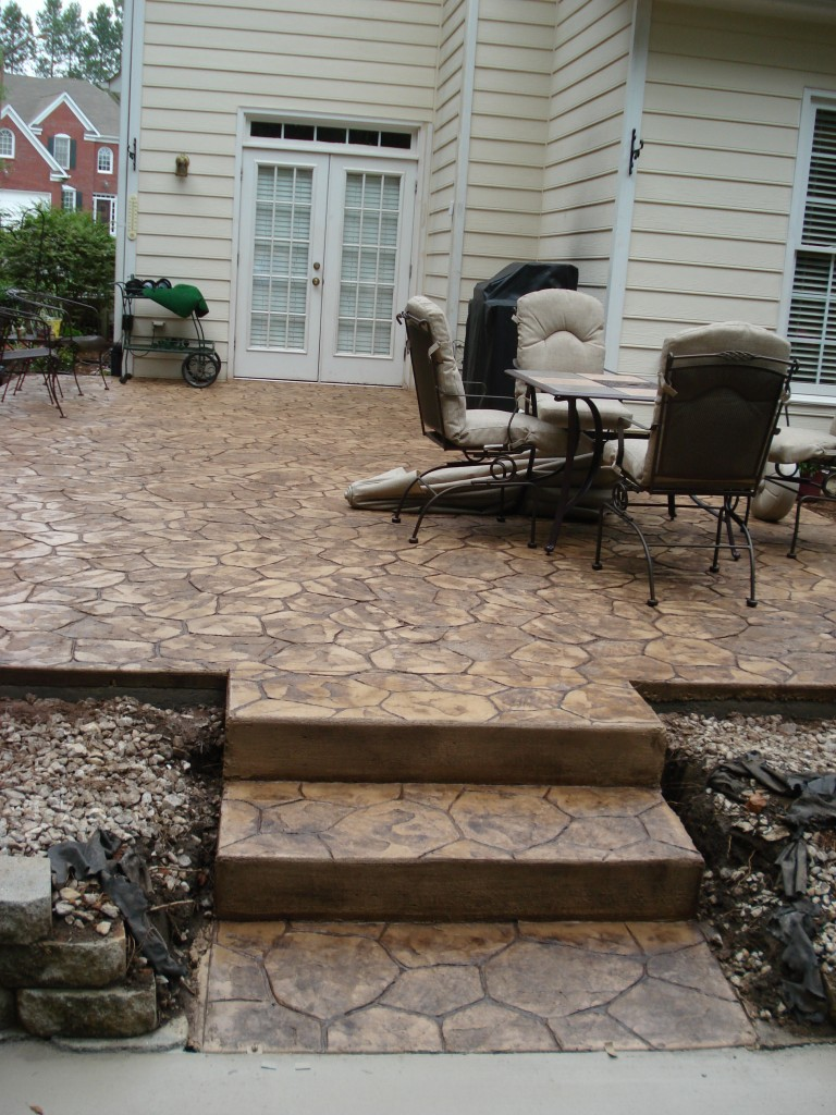 Stamp patio with steps