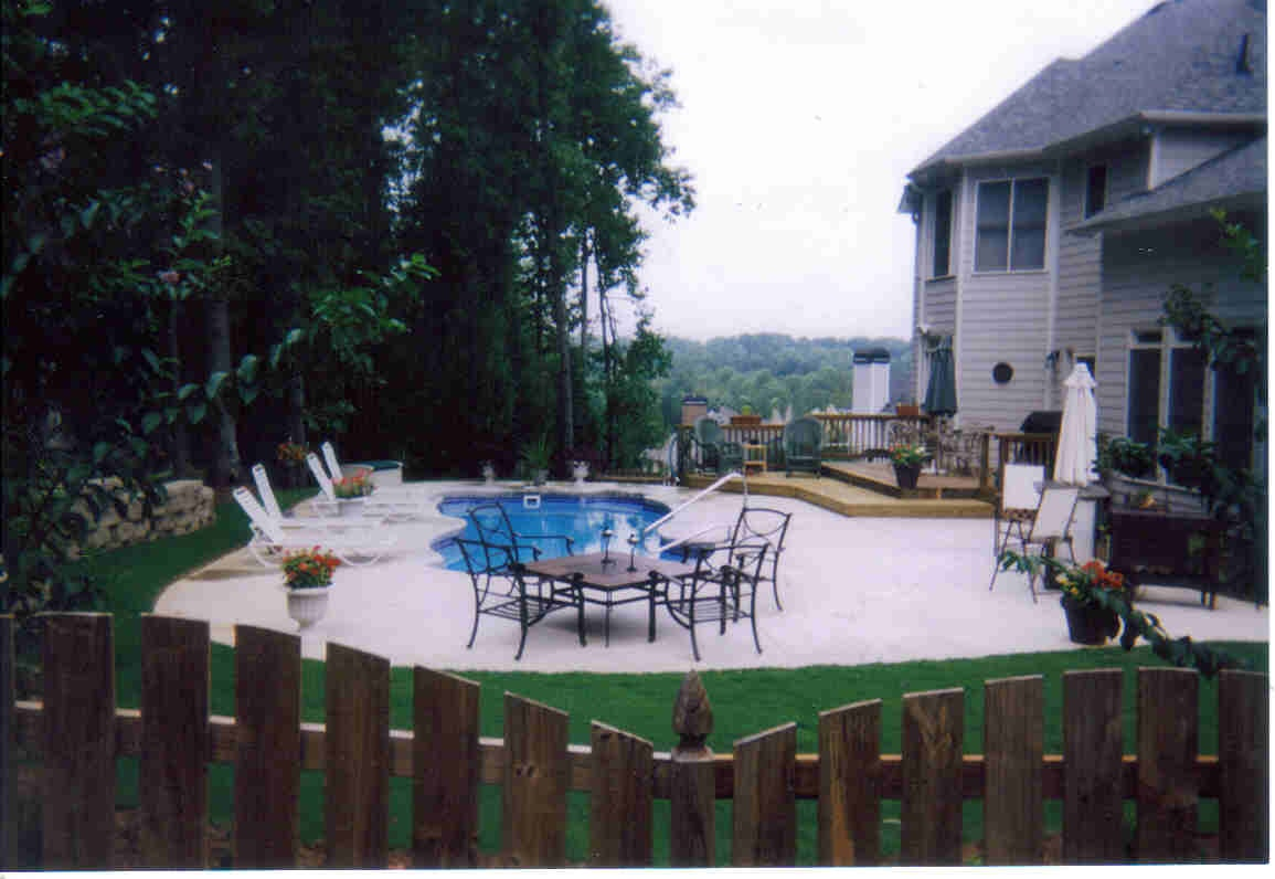 Pool deck and wall