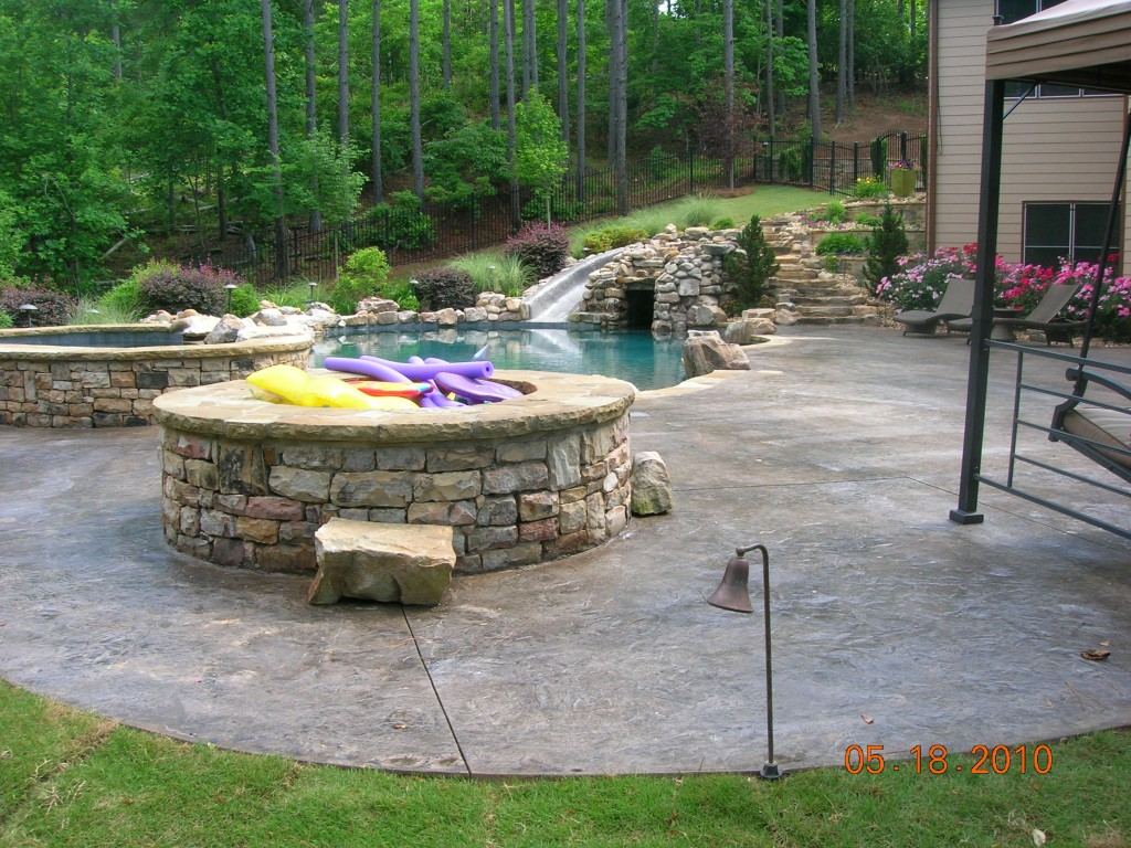 Pool deck and fireplace